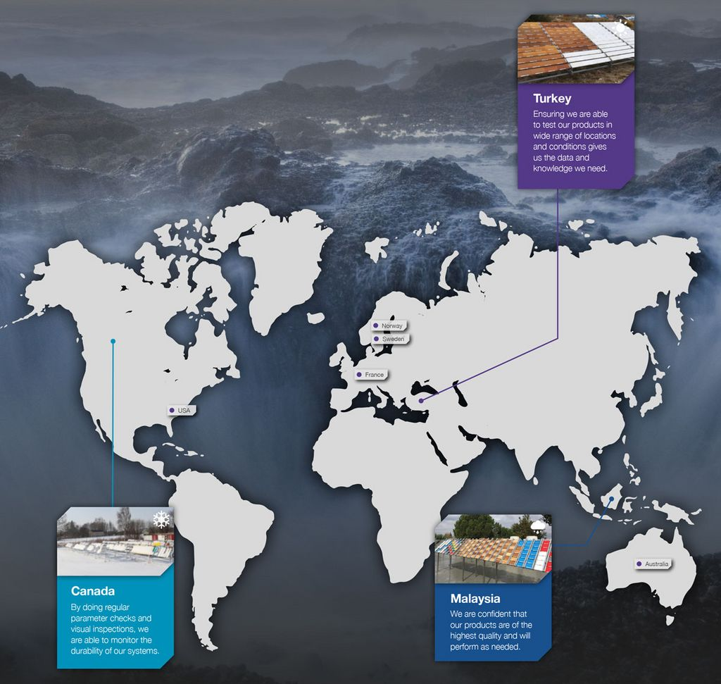 Keyvisual for global weathering program, Waterfall and world map with explanations