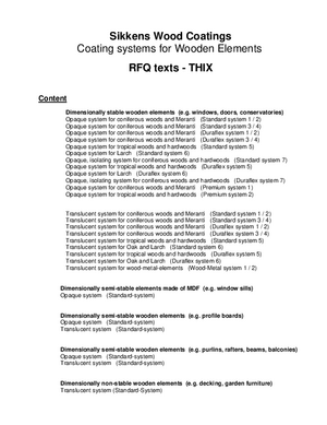Requests for quotation texts (RFQ) THIX