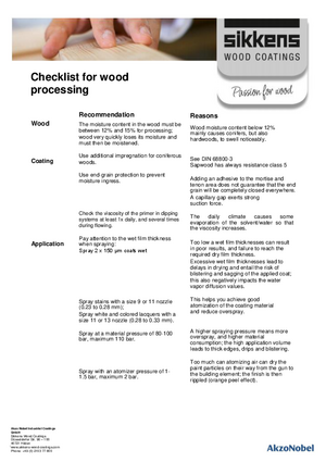Checklist for wood processing
