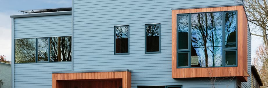 modern, blue timber house, wooden paneling