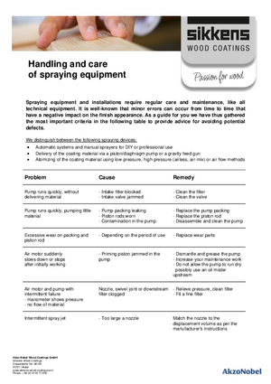 Handling and care of spraying equipment