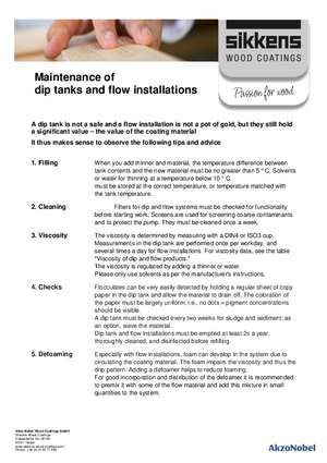 Dip tanks and flow installations